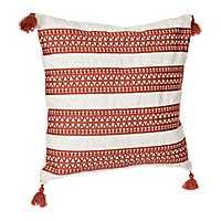 Rust Embroidered Diamond Stripe Tassel Pillow