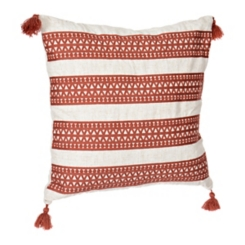 Rust Embroidered Diamond Stripe Tassel Pillow
