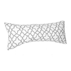 Gray Embroidered Chain Stitch Accent Pillow