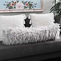 Gray Faux Mongolian Fur Accent Pillow