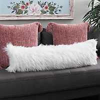 White Faux Mongolian Fur Accent Pillow