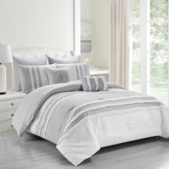 Gray and White Chartreux 8-pc. King Comforter Set