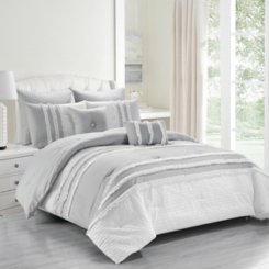 Gray and White Chartreux 8-pc. Queen Comforter Set