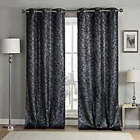 Black Maddie Blackout Curtain Panel Set, 84 in.