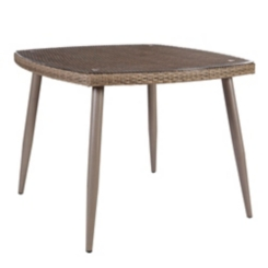 Gray Wicker Dining Table with Tempered Glass