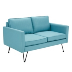 Austin Blue Love Seat with Bronze Aluminum Frame