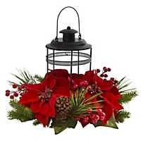 Poinsettia and Pine Lantern Floral Arrangement