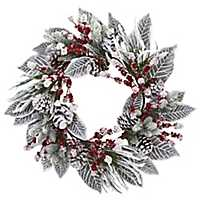 Snowy Magnolia and Berry Christmas Wreath
