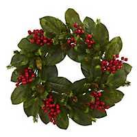 Magnolia Leaf, Berry, and Pine Christmas Wreath