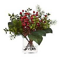 Boxwood, Berry, and Pine Christmas Arrangement
