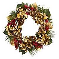 Golden Hydrangea, Berry, and Pine Christmas Wreath