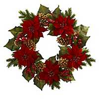 Poinsettia Christmas Wreath with Golden Pine Cones