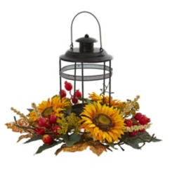 Sunflower and Berry Arrangement with Lantern