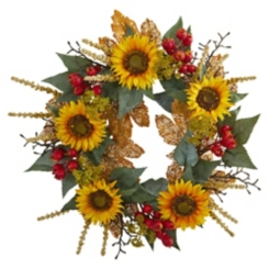 Sunflower and Berry Harvest Wreath