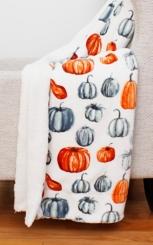 Callie Pumpkin Flannel Sherpa Throw