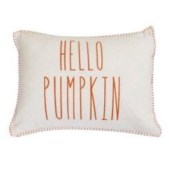 Hello Pumpkin Embroidered Velvet Accent Pillow