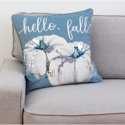 Blue and White Hello Fall Harvest Pillow