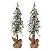 Snowy Alpine Trees with Burlap Bases, Set of 2