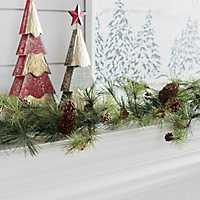 Drooping Snowy Ming Pine Christmas Garland