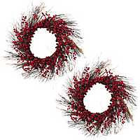 Red and Purple Berry Wreaths, Set of 2