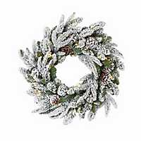Pre-Lit Flocked Pine and Pine Cone Wreath