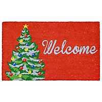 Red Welcome Christmas Tree Doormat