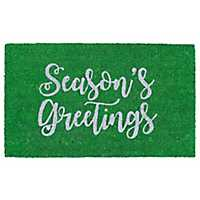 Green Season's Greetings Christmas Doormat