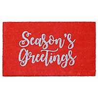Red Season's Greetings Christmas Doormat