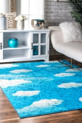 Blue Jojo Contemporary Clouds Area Rug, 5x7