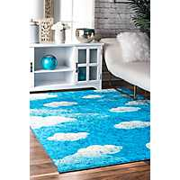 Blue Jojo Contemporary Clouds Area Rug, 7x9