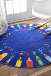 Rainbow Alphabet Round Rug, 8 ft.