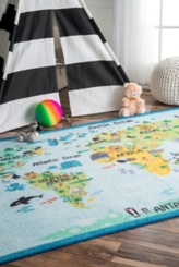 Multicolor Animal World Map Area Rug, 7x9