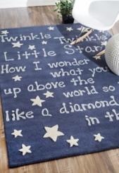 Blue Twinkle Twinkle Little Star Area Rug, 5x7