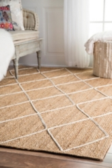 Braided Oval Diamond Area Rug, 4x6