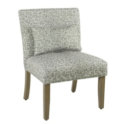 Gray Cheetah Accent Chair with Pillow