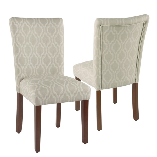 Tan Geometric Parsons Chairs, Set Of 2