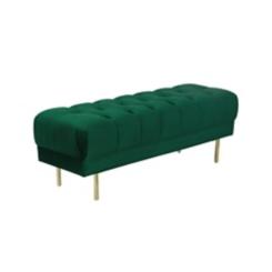 Velvet Emerald Button Tufted Bench
