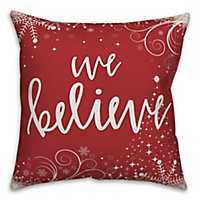 Red and White We Believe Outdoor Pillow