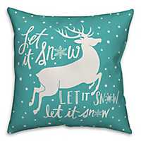 Blue and White Let It Snow Outdoor Pillow
