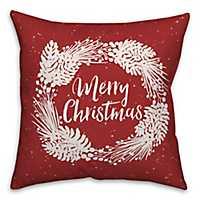 Merry Christmas Wreath Outdoor Pillow