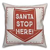 Santa Stop Here Arrow Outdoor Pillow
