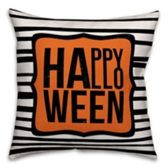 Striped Happy Halloween Outdoor Pillow