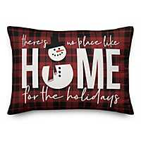 No Place Like Home Plaid Outdoor Accent Pillow