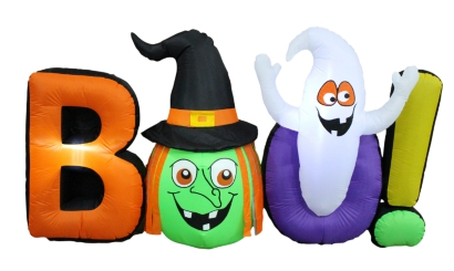 Boo Letters Inflatable with Witch and Ghost