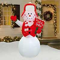 Let It Snow Christmas Snowman Inflatable, 8 ft.