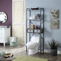 Rustic Metal 2-Drawer Space Saver Bathroom Shelf