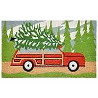 Red Car Hauling Christmas Tree Doormat