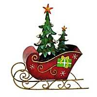 Christmas Sleigh with Tree Statue