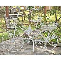 White Iron Bicycle Planter with Butterfly Accents