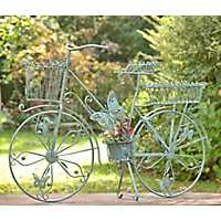 Green Iron Bicycle Planter with Butterfly Accents